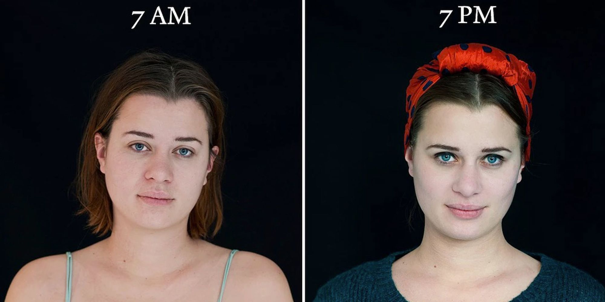 This is how a person's face changes throughout the day
