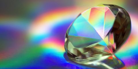 """Faceted """"Diamond"""" Prism on Holographic Backdrop"""