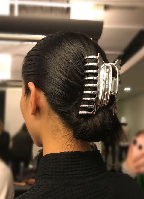 Hair, Hairstyle, Fashion, Chignon, Black hair, Audio equipment, Comb over, Bun,