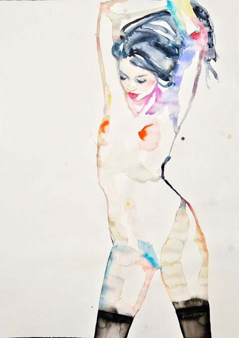 Shoulder, Style, Art, Artwork, Paint, Fashion illustration, Painting, Illustration, Watercolor paint, Waist,