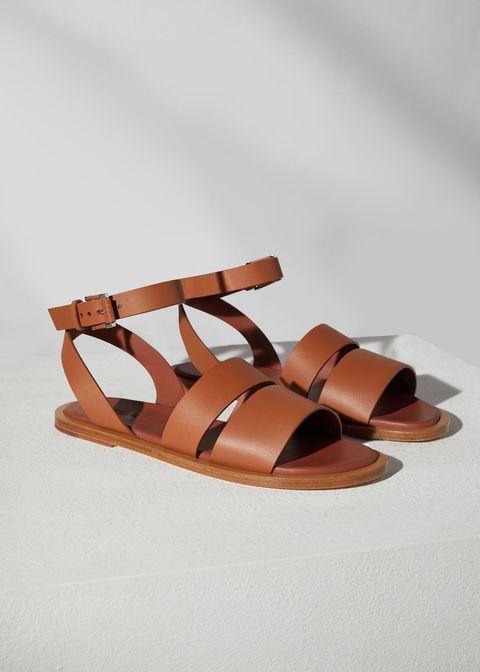 sandali bassi cuio