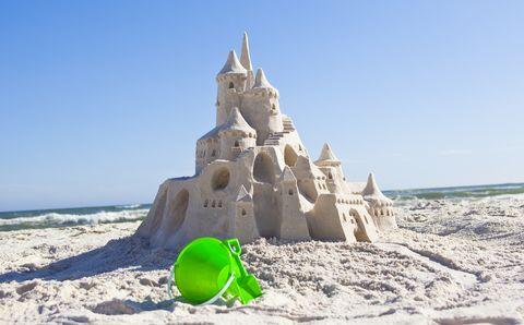 Fairy tale sand castle on the beach