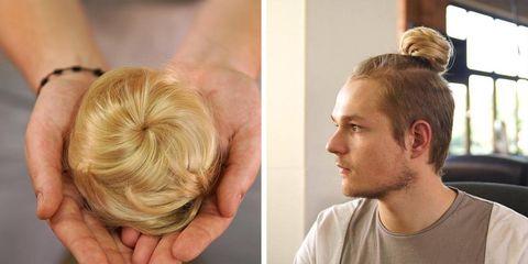 Hair, Hairstyle, Blond, Chin, Neck, Chignon, Hair coloring, Ear, Long hair, Bun,