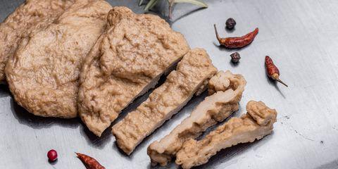 fake meat meat analogue also called  alternative, substitute, mock, faux, imitation, vegetarian, vegan meat wheat gluten, also called seitan, mianjin, milgogi, gluten meat