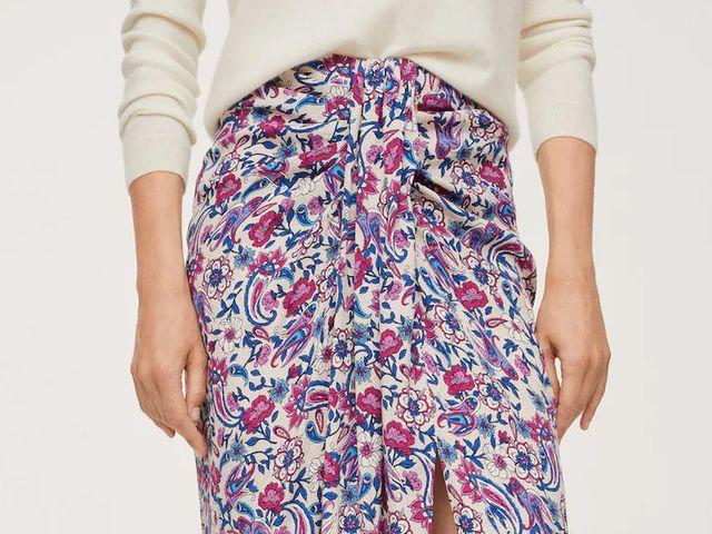 falda midi con nudo floral