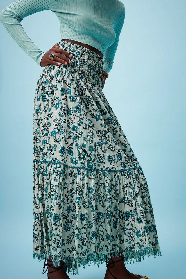 falda larga estampada con efecto faja de zara