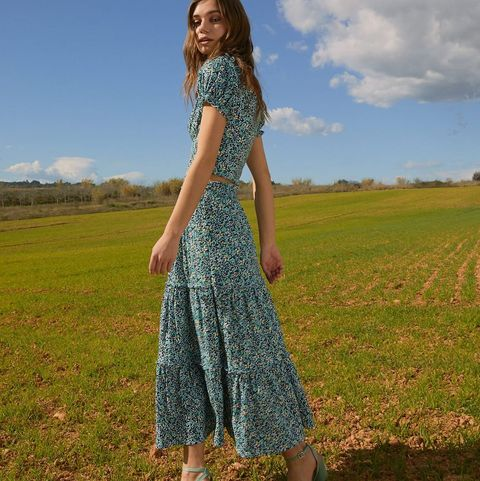 People in nature, Clothing, Green, Dress, Blue, Grass, Beauty, Grassland, Meadow, Sky,