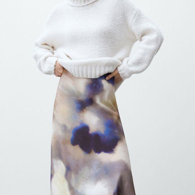 falda midi tie dye de massimo dutti
