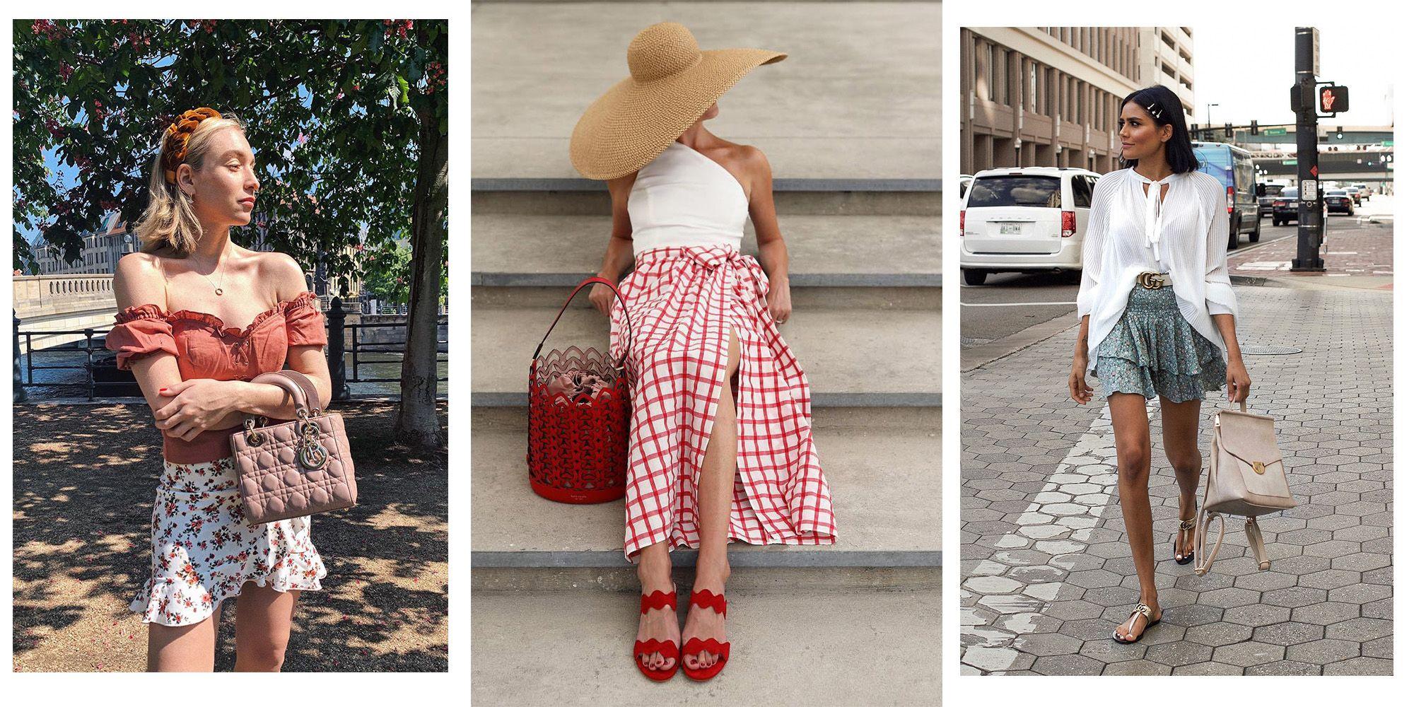 Faldas estampadas cortas y midis de moda en verano 2019