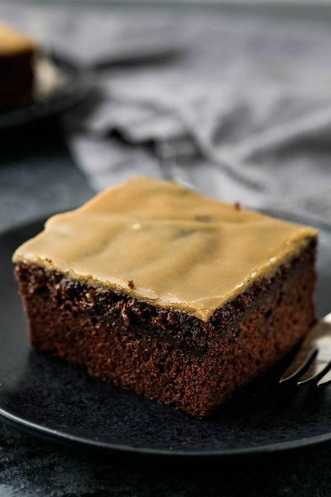 chocolate cake with maple caramel glaze
