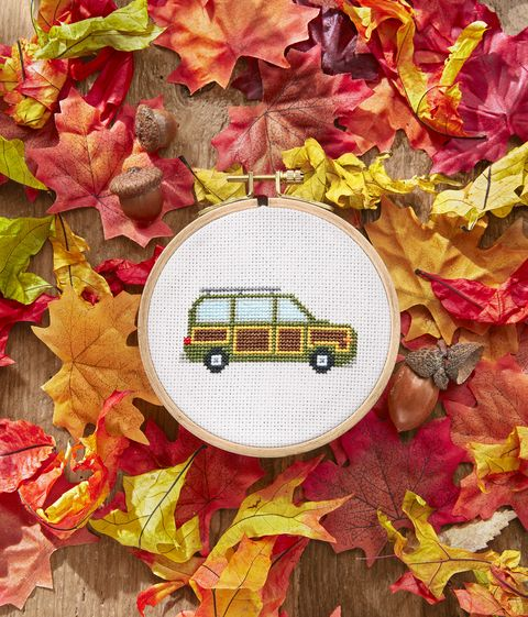 station wagon car cross stitch project you can do for a fall activity