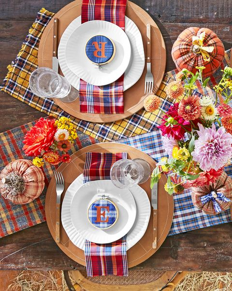 personalized plaid place settings in a fall tablescape