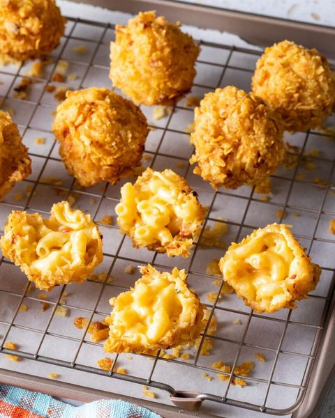 fried mac and cheese balls on wire rack