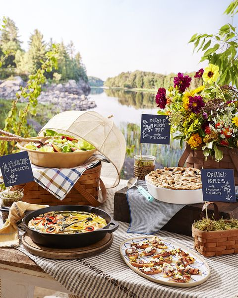 a table set up for a potluck get together