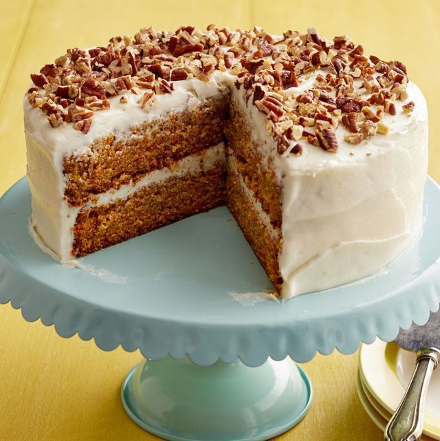 carrot cake on blue cake stand