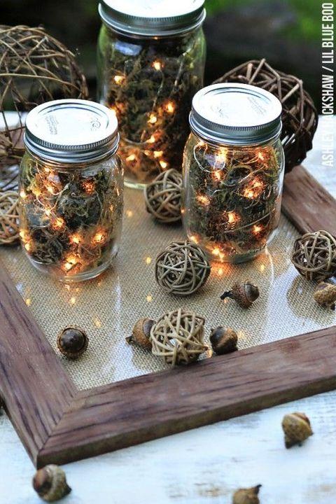 fall centerpieces, fireflies in mason jars