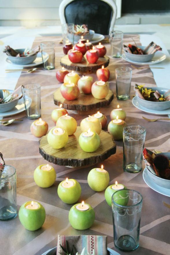fall centerpiece apple candle centerpiece