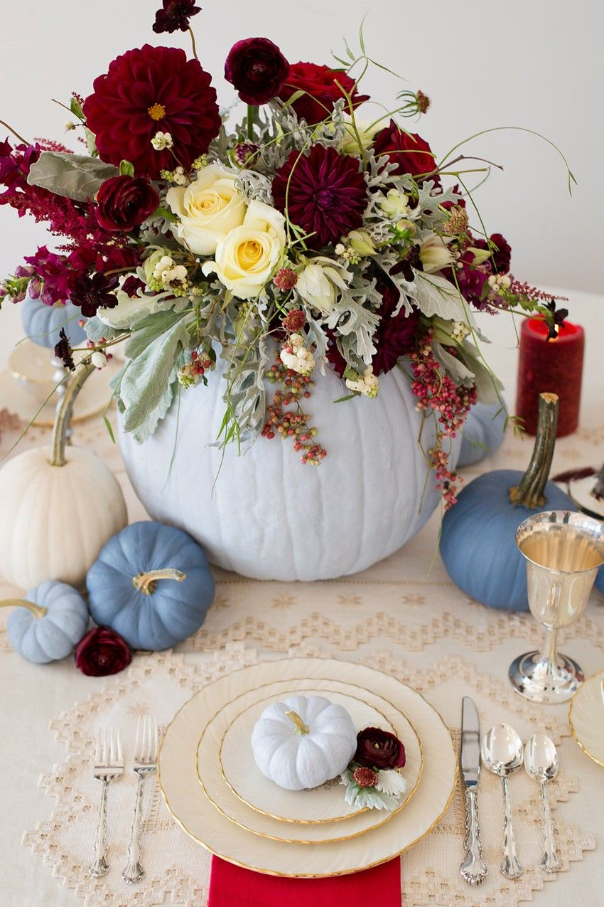 fall centerpiece blue pumpkins and flowers