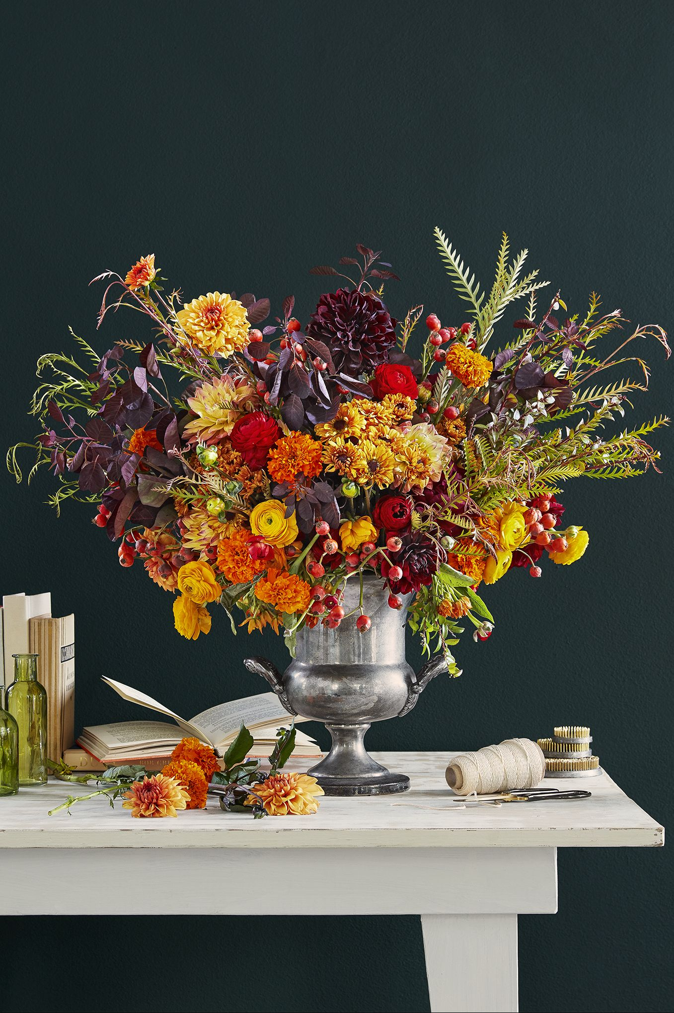 fall centerpiece trophy flower arrangement