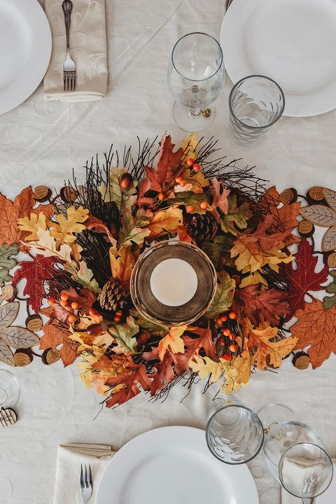 fall centerpieces leaves