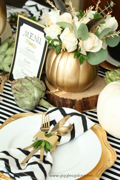 fall centerpieces metallic pumpkin