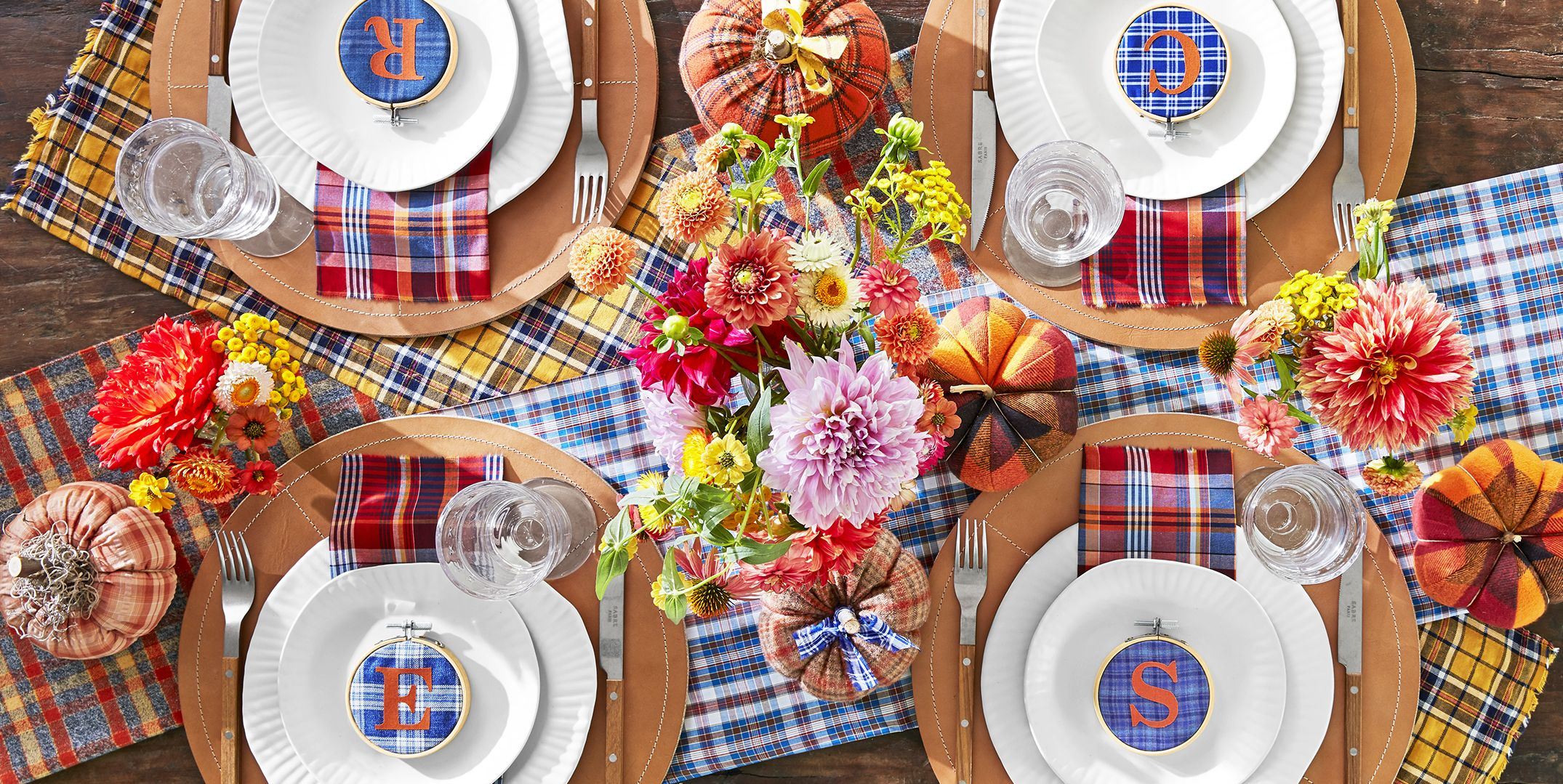 fall centerpiece plaid flower arrangement