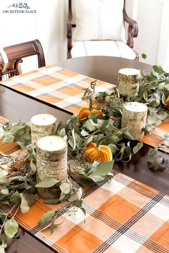 fall centerpiece eucalyptus pumpkin garland centerpiece
