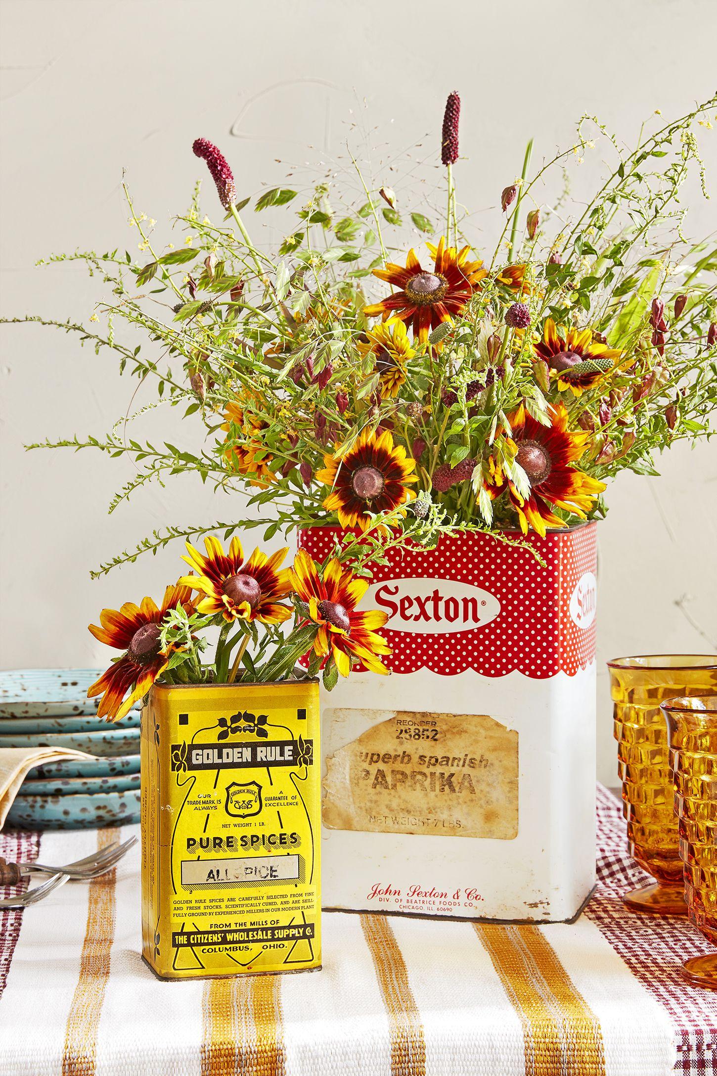 fall centerepiece vintage tin wildflowers