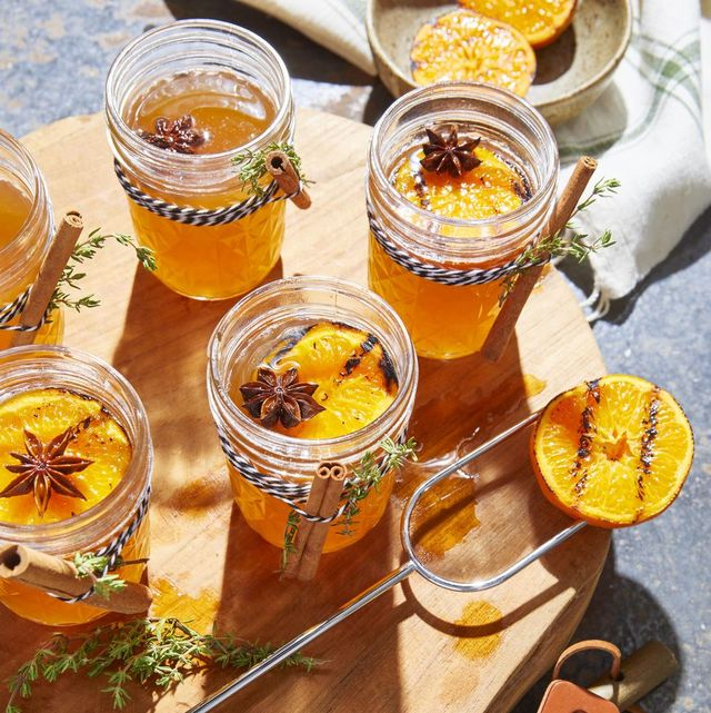fall cocktails hot toddy with charred oranges