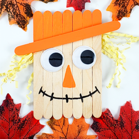popsicle stick scarecrow fall craft for kids