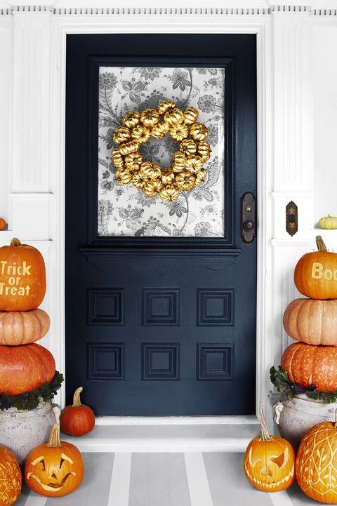 falls crafts for adults  gold pumpkin wreath