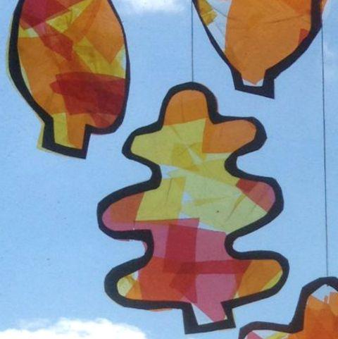 leaf suncatcher fal craft for kids