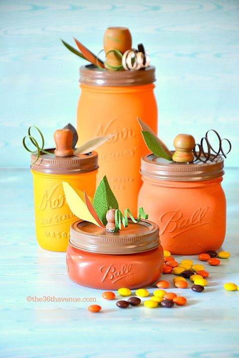 fall crafts pumpkin mason jars