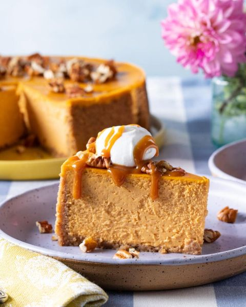 pumpkin cheesecake slice on purple plate