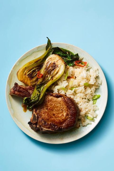 fall dinner recipes - pork chops with coconut rice