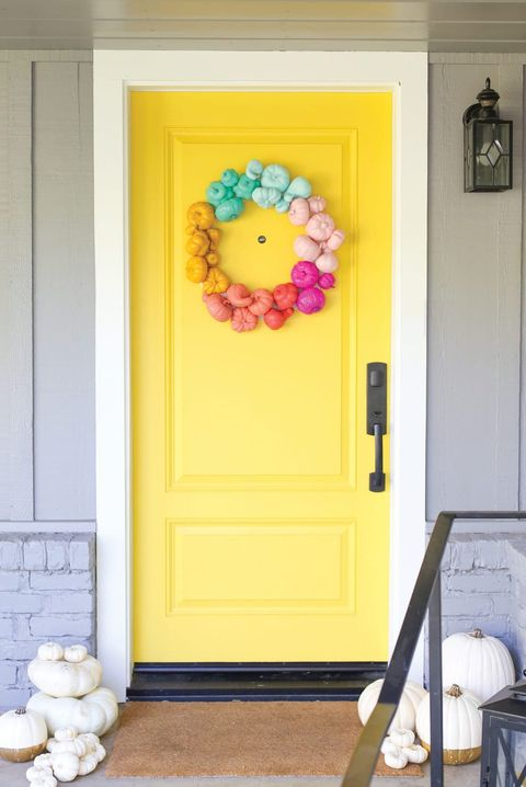 fall door decorations colorful pumpkin wreath