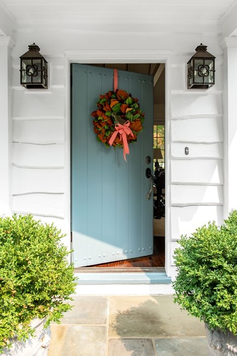 front door with wreath