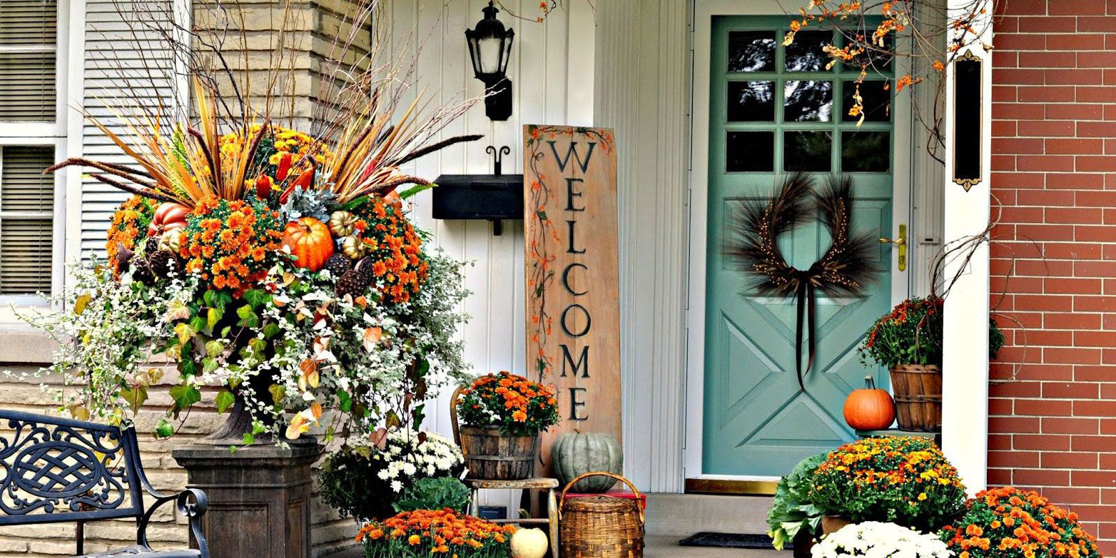 front porch fall decor 40 Fall Porch Decorating Ideas   Ways to Decorate Your Porch for Fall front porch fall decor