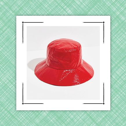 graphic with two hats, one suede fedora hat and one red waterproof bucket hat