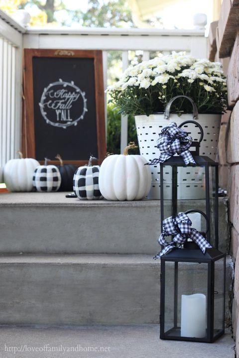 fall porch decor black and white lanterns
