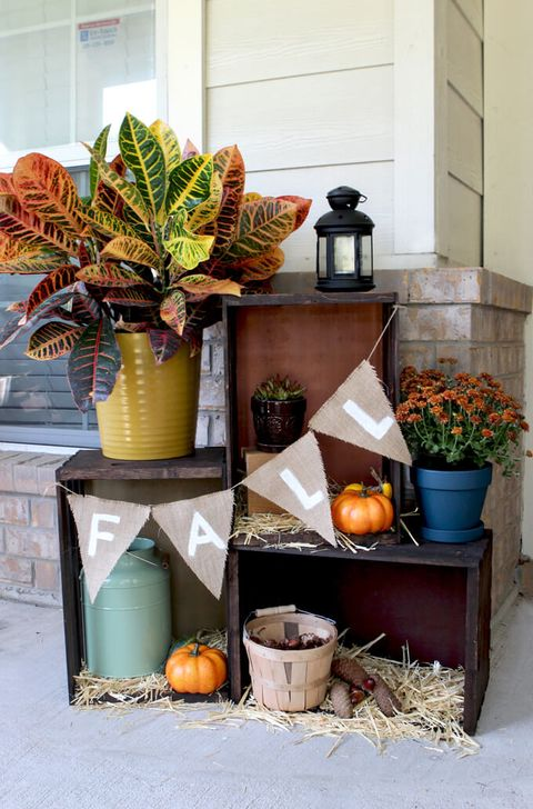 fall porch decor crate display