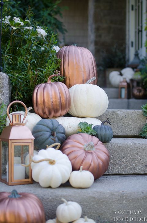 fall porch decor metallic pumpkins