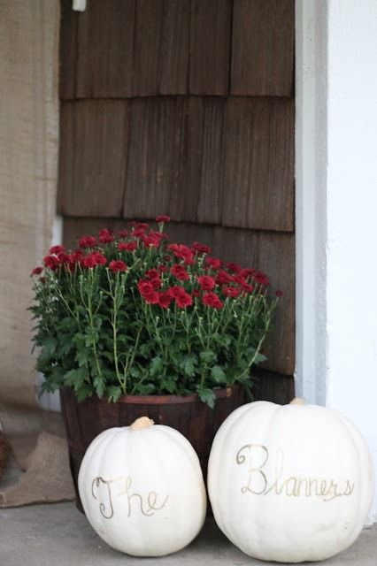 fall porch decor personalized pumpkins