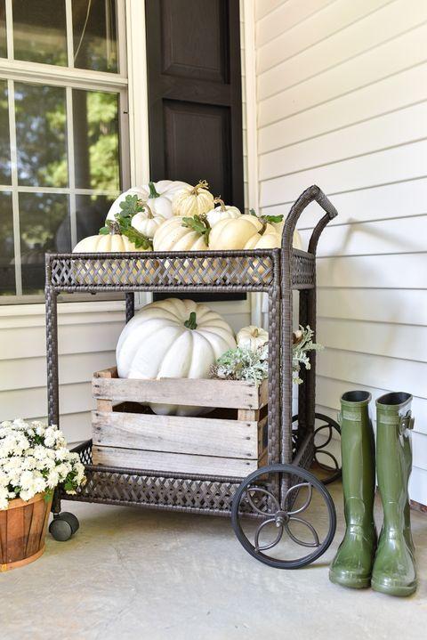 fall porch decor pumpkin bar cart