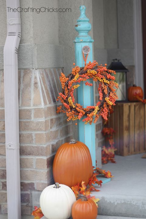 fall porch decor teal post