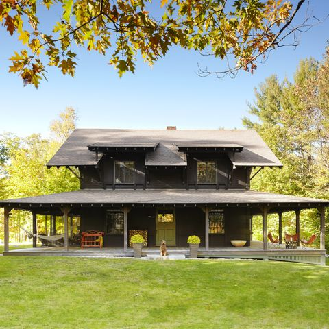 boston architect heather wells's cabin retreat in north sutton, new hampshire is decorated for fall
