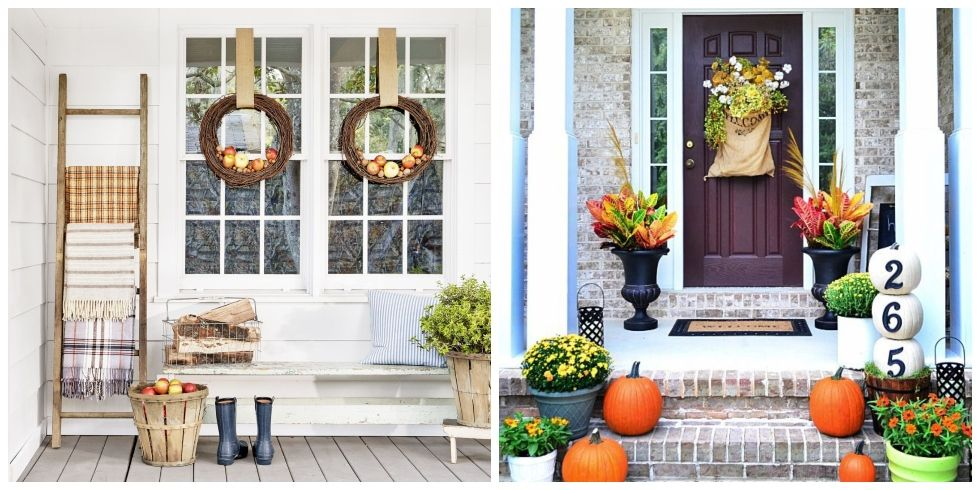fall porch decorating & 40 Fall Porch Decorating Ideas - Ways to Decorate Your Porch for Fall