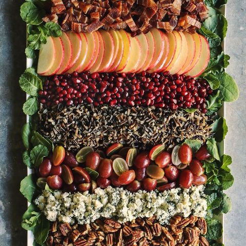 holiday wild rice salad with grapes on platter