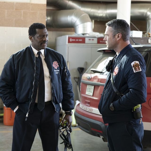 chicago fire    51s original bell episode 820    pictured l r jesse spencer as matthew casey, eamonn walker as wallace boden, taylor kinney as kelly severide    photo by adrian s burrows srnbcnbcu photo bank via getty images