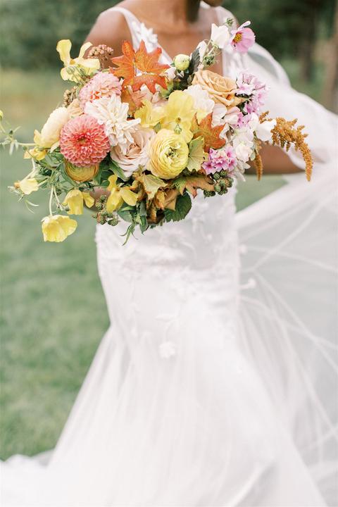 cheery fall wedding bouquet